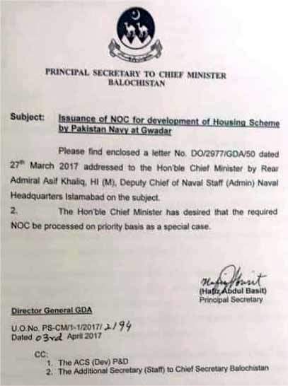Issuence of NOC for Naval Anchorage Gwadar
