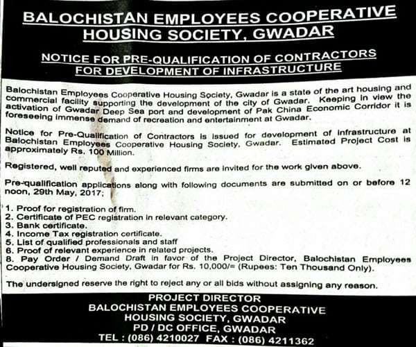 BECHS Gwadar Notice for Prequalification of Contractors