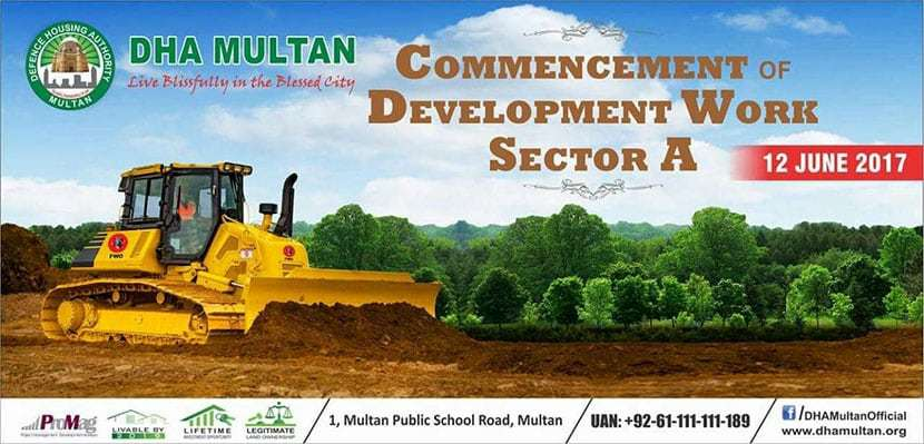 DHA Multan Commencement of Development work Sector A