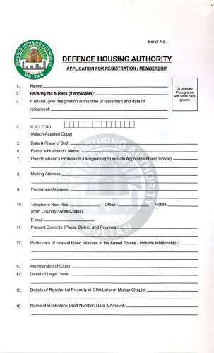 DHA Multan Membership Form