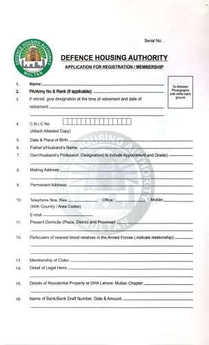 DHA Multan Membership Form