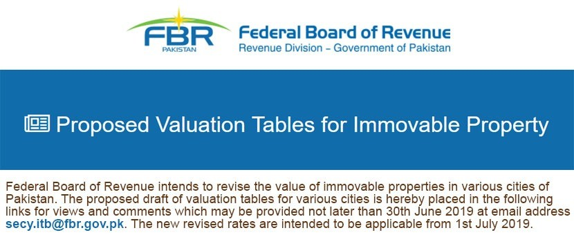 FBR Proposed Rates for Immovable Property 2019-2020 | eProperty®