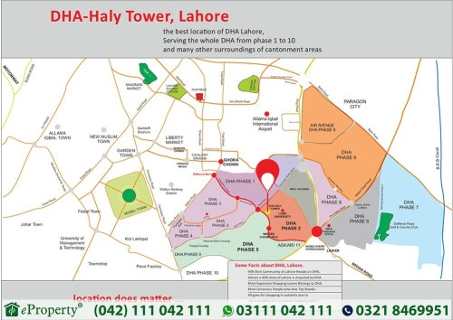 DHA Haly Tower Lahore Location Map