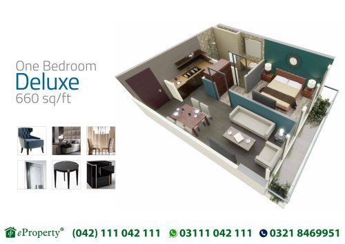 Downtown Mall and Residences 1 Bedroom Deluxe Layout Plan