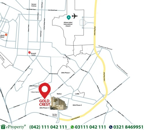 Goldcrest Mall and Residency Lahore Location Map
