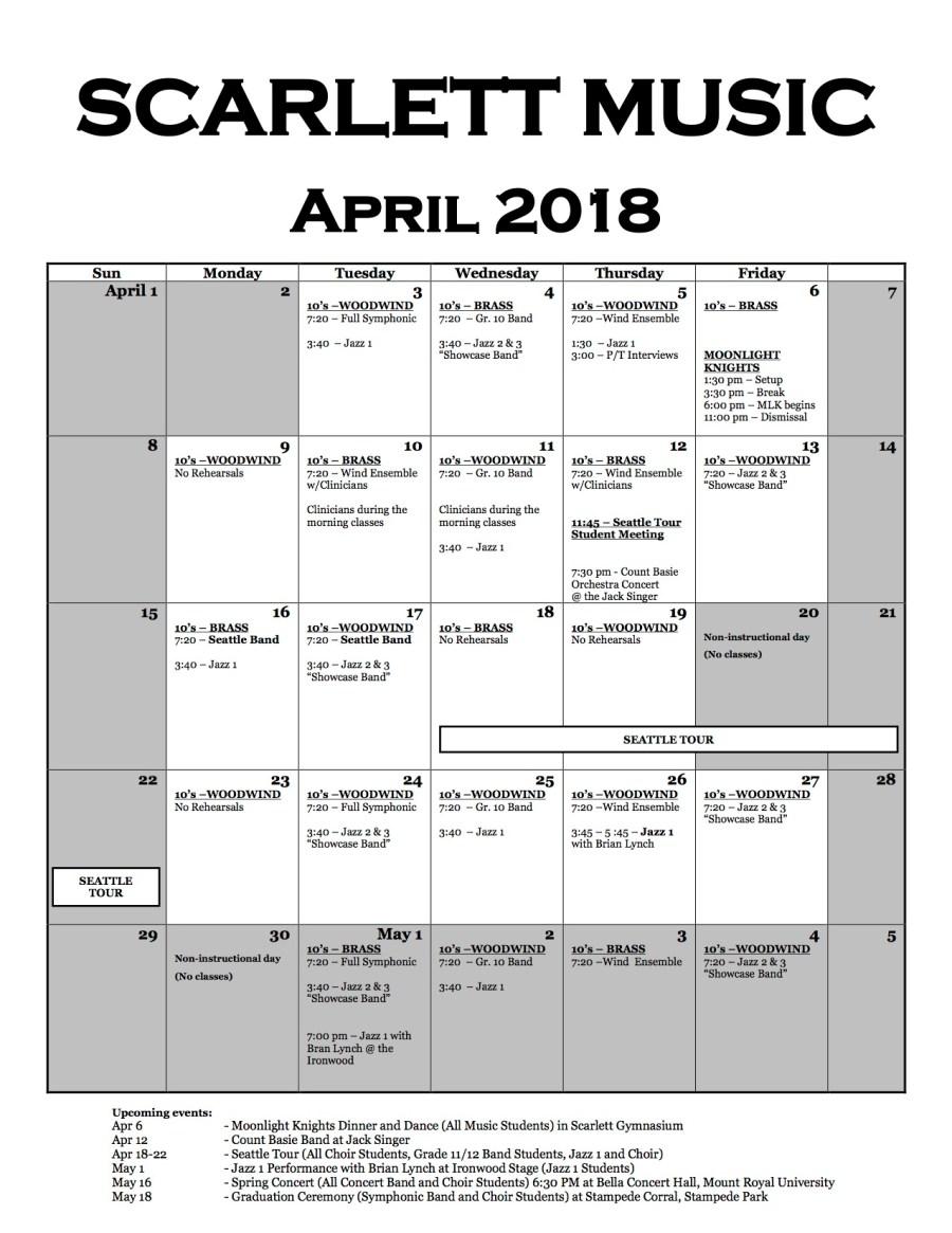 Music Calendar (April 2018)
