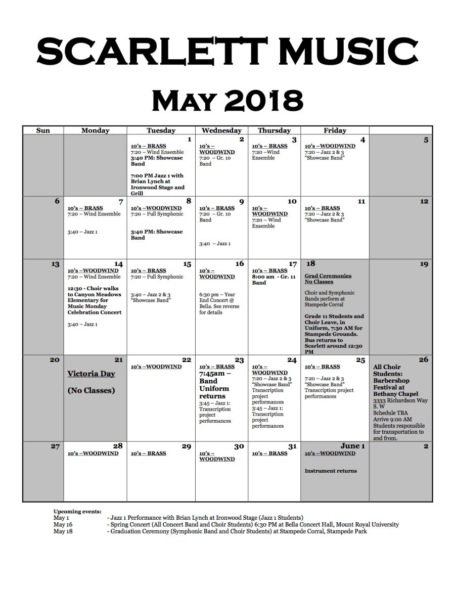 May 2018 Music Calendar (Updated)