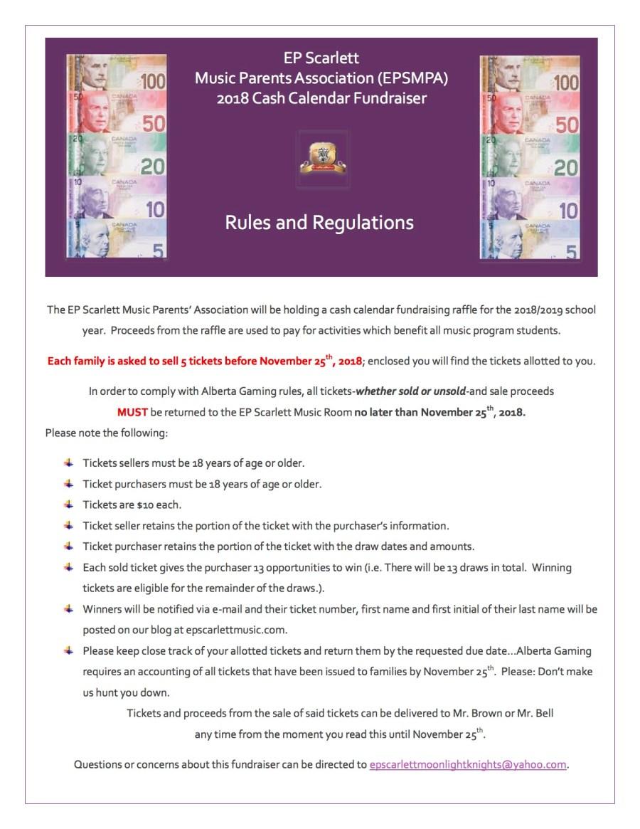 Cash Calendar Rules Sheet