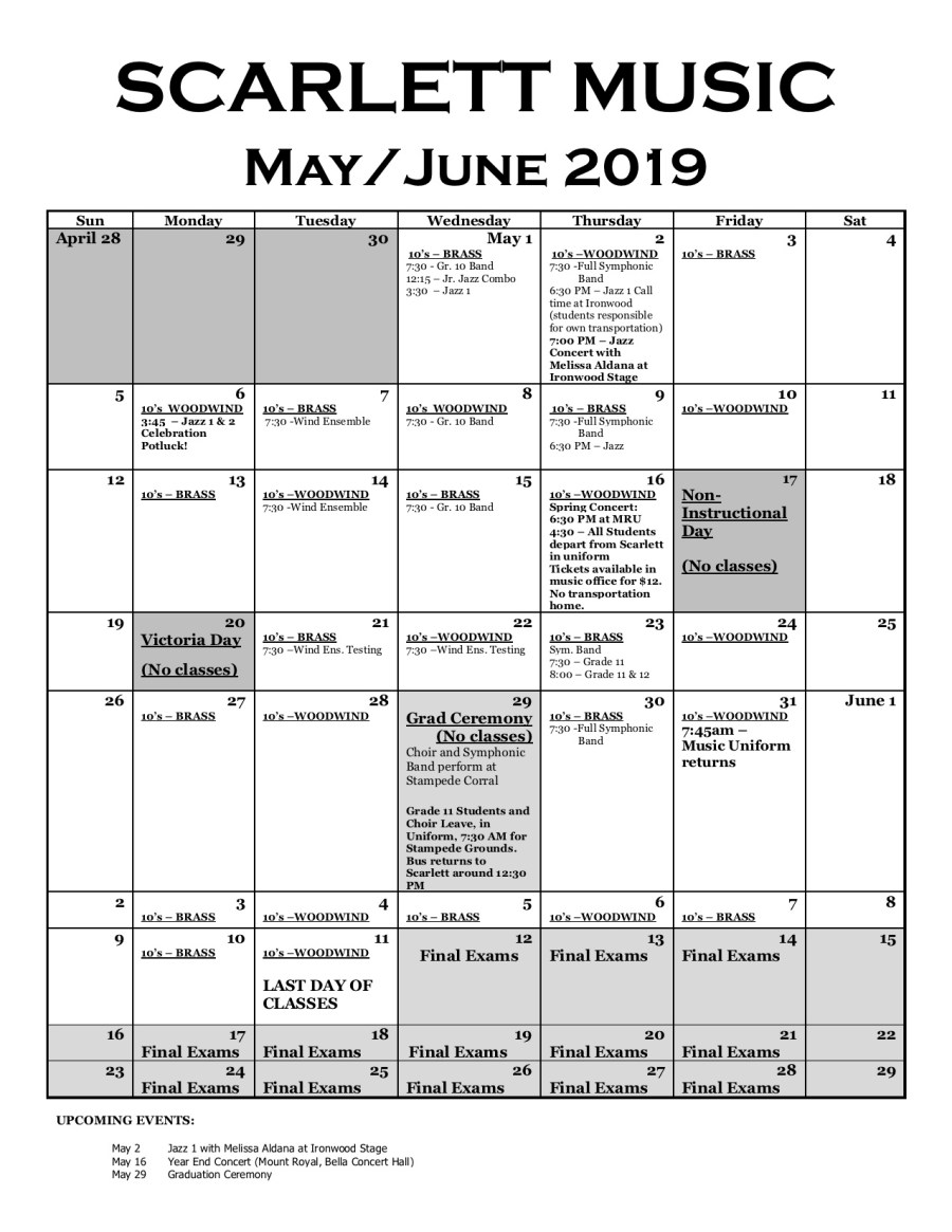 May-June 2019 Calendar