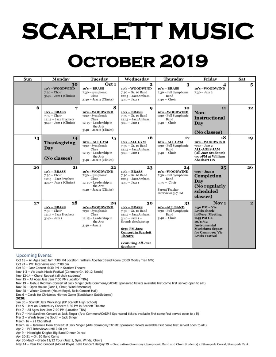 Scarlett Music Calendar Oct 2019