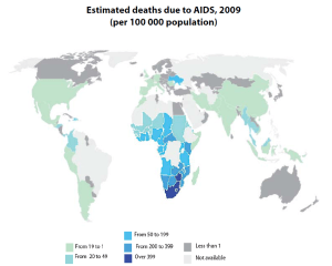 Estimated deaths due to AIDS, 2009 (per 100 000 population)