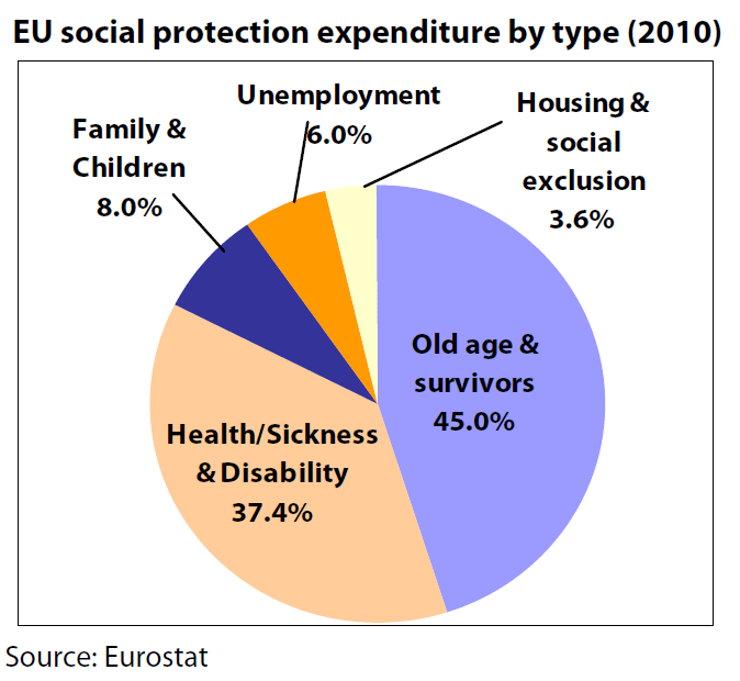 EU social protection expenditure by type (2010)