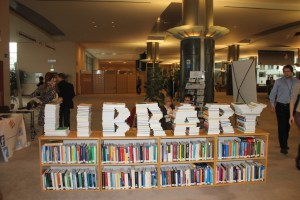 Library sculpture from books