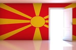 Macedonia flag on empty room