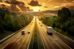 Highway in sunset