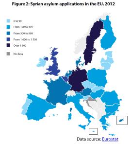 Syrian asylum applications in the EU, 2012