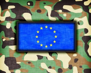 Amy camouflage uniform with flag on it, EU