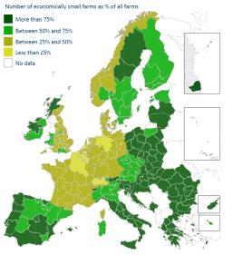 Economically small farms by region