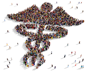 Symbol of public health made out of people