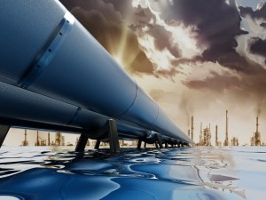Oil pipeline passing through the sea leading to city