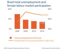 Brazil total unemployment and female labour market participation