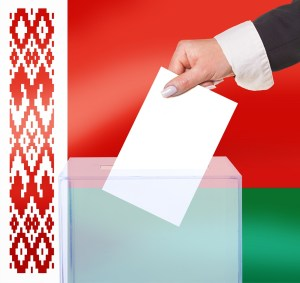 electoral vote by ballot, under the Belarus flag