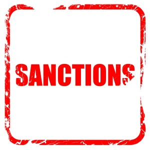 sanctions, red rubber stamp with grunge edges