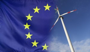 An EU flag and a windmill