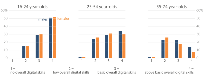 Digital skills of women and men in different age groups