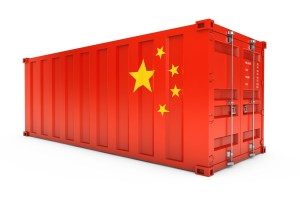 China Export Concept. Shipping Container with China Flag. 3d Ren