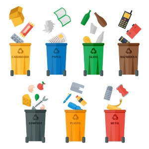 Waste sorting of garbage types set vector. Waste management and recycle concept. Separation of waste on trash metal garbage bins. Sorting waste recycling. Colored garbage cans with waste types vector.