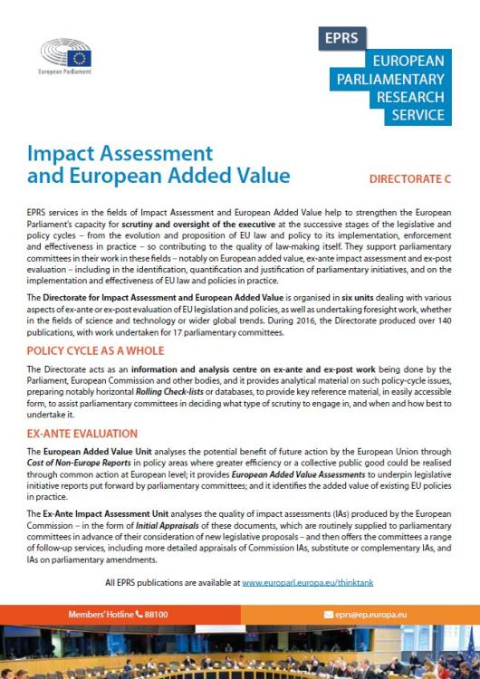 EPRS: Impact Assessment and European Added Value