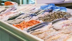 Granada, Spain, juli 1, 2017: Fresh fish displayed at stall on local market of San Agustin
