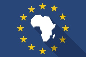 Illustration of an European Union long shadow flag with a map of the african continent