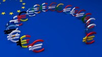 Euro symbols painted in the flag colors of each of the countries that have adopted the Euro currency, all rounded up