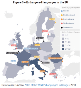 Figure 3 – Endangered languages in the EU
