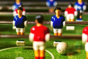 Table soccer game, retro tone effect, selective focus with shallow depth of field