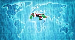 Arab League member countries flags on world map with national borders