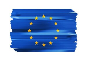 European Union colorful brush strokes painted national country EU flag icon. Painted texture.