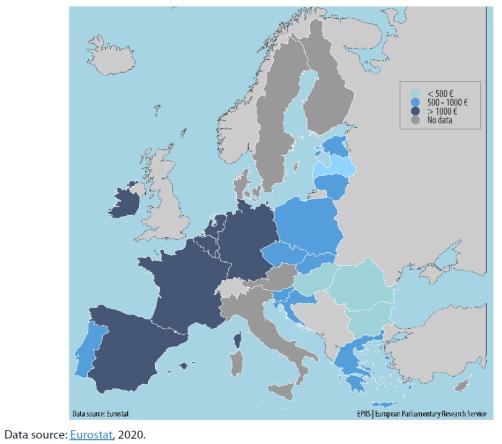 Minimum wages in EU Member States, July 2020 (€ per month)