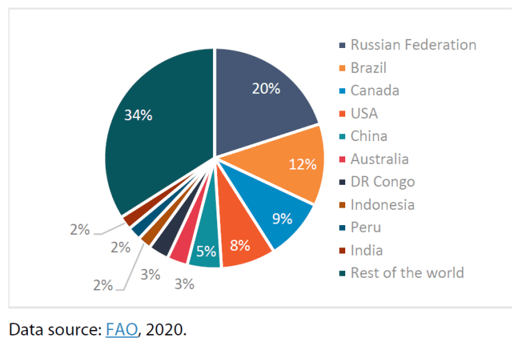 Figure 1 – Global forest distribution, with top 10 countries by reported forest area (as a % of the world's forests)