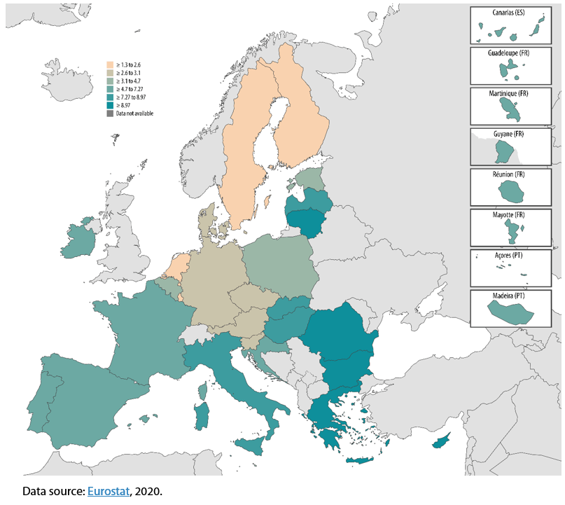Severely materially deprived people in the EU-27, 2019 (%)