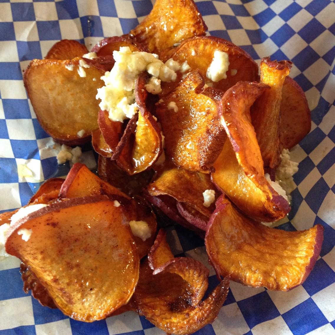Sweet potato chips w/honey and feta