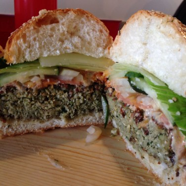 Tutu's Veggie Burger Cross Section