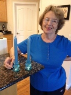 Blue depression glass look candle sticks