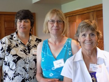 Nancy Rose, Martha Roy and Joan Devlin enjoy some conversation while awaiting the lunch buffet.