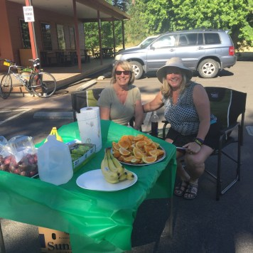 Joni Parsons and Wyn Lewis at their bike ride support station.
