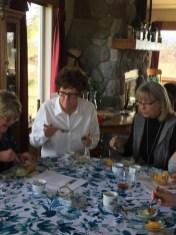 Carolyn Hein, Sharyn Close and Cathi Soreng sample the green tea ice cream