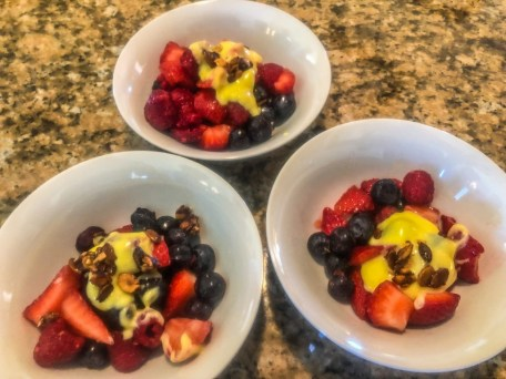 Fresh berries with tequila lime espuma for dessert