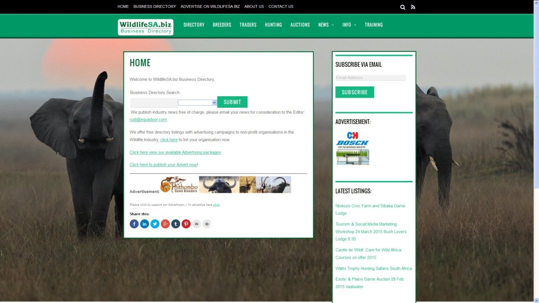 WildlifeSA.biz South African Wildlife Business Directory